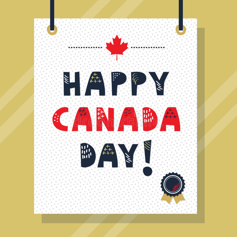 Cute navy blue and red Happy Canada Day capital letters message vector illustration