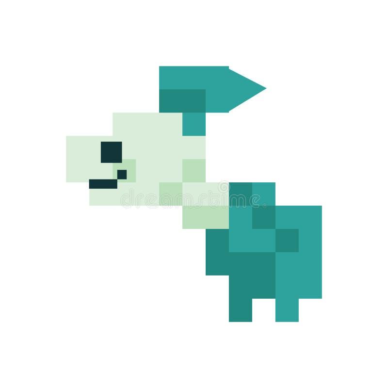 Cute neo mint green 8 bit goldfish vector illustration. Sealife pixel clipart vector illustration