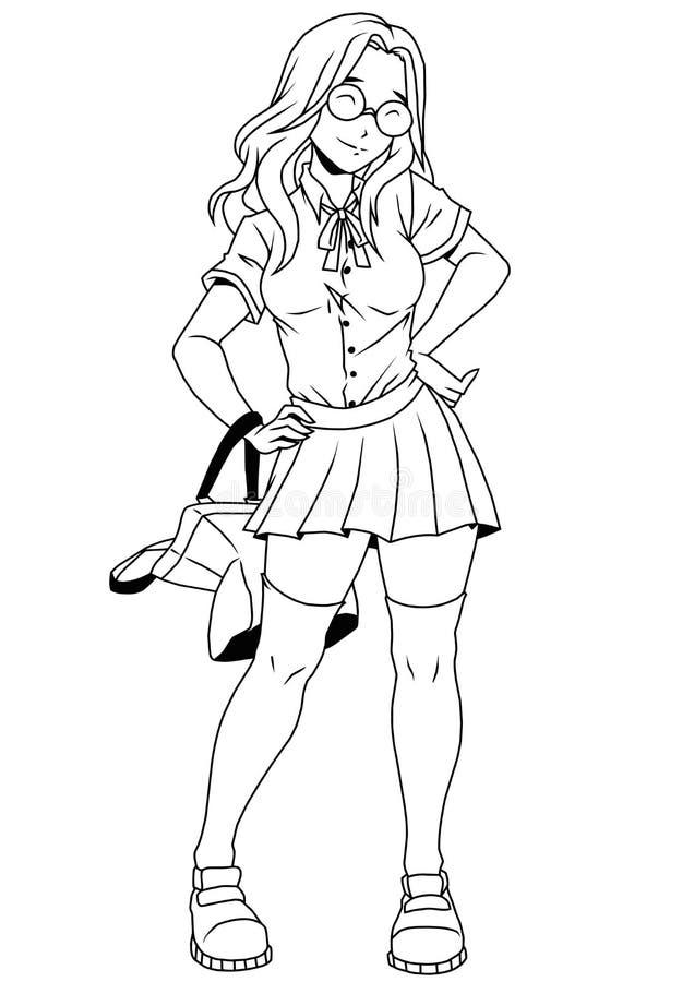 Cute Nerd College Girl In Glassesillustrationinkblack And Whitelogooutline On A White