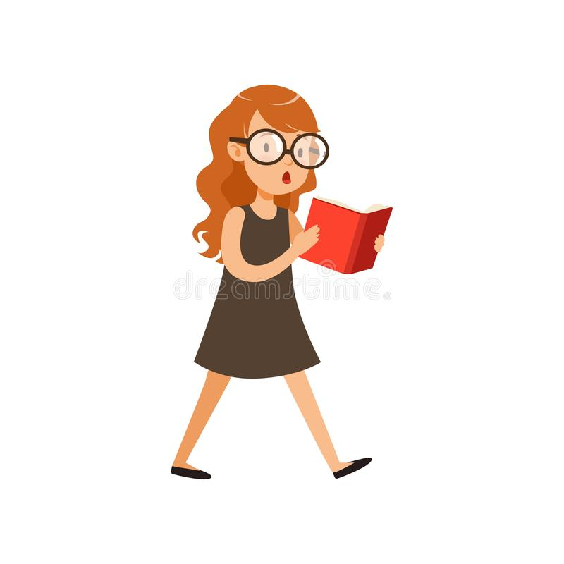 Cute nerd girl walking and reading book. Pupil with interested face expression in black dress and glassed. Cartoon stock illustration