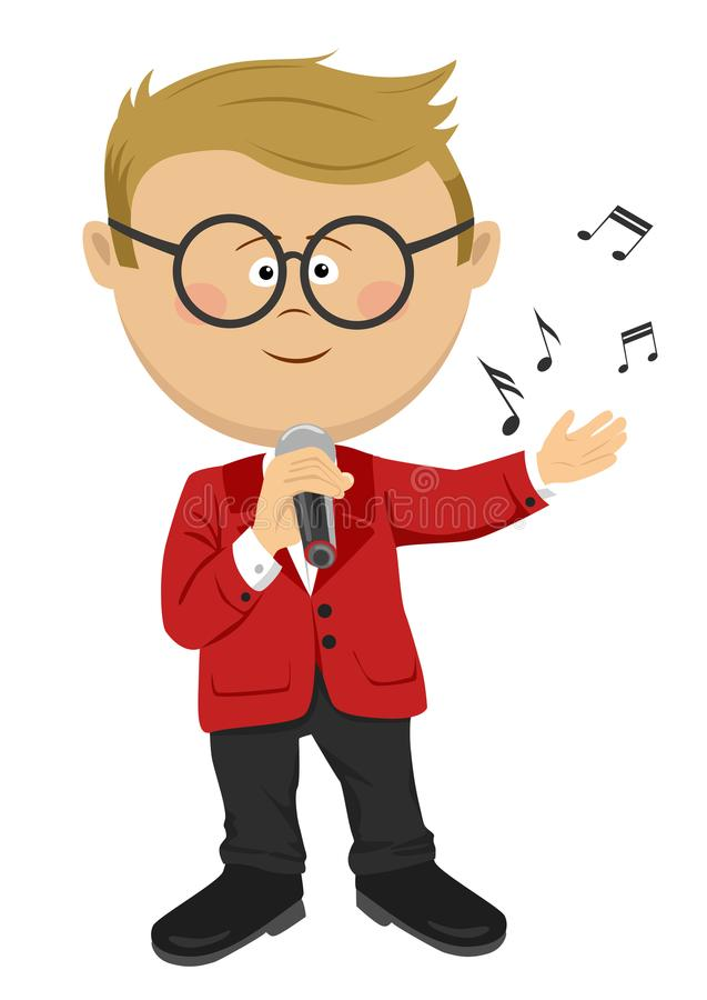 Cute nerd little boy with glasses sings with a microphone. On white royalty free illustration