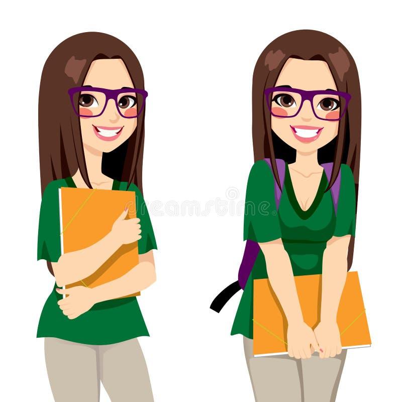 Cute Nerdy Girl Student royalty free illustration