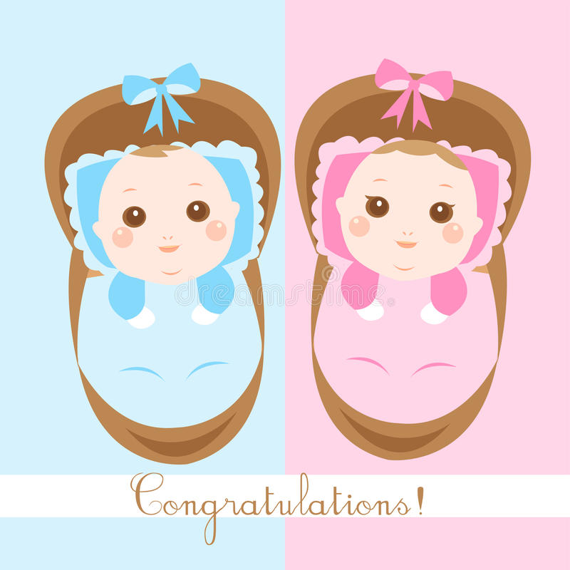 Cute new born babies shower card. Cute twins new born babies shower card stock illustration