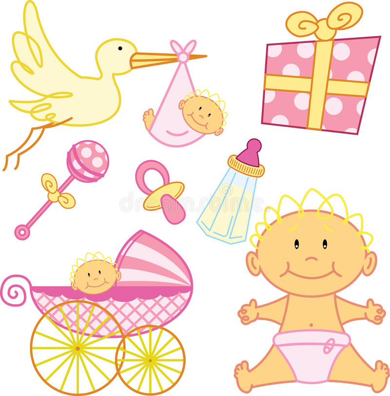 Cute New born baby girl graphic elements. stock photos