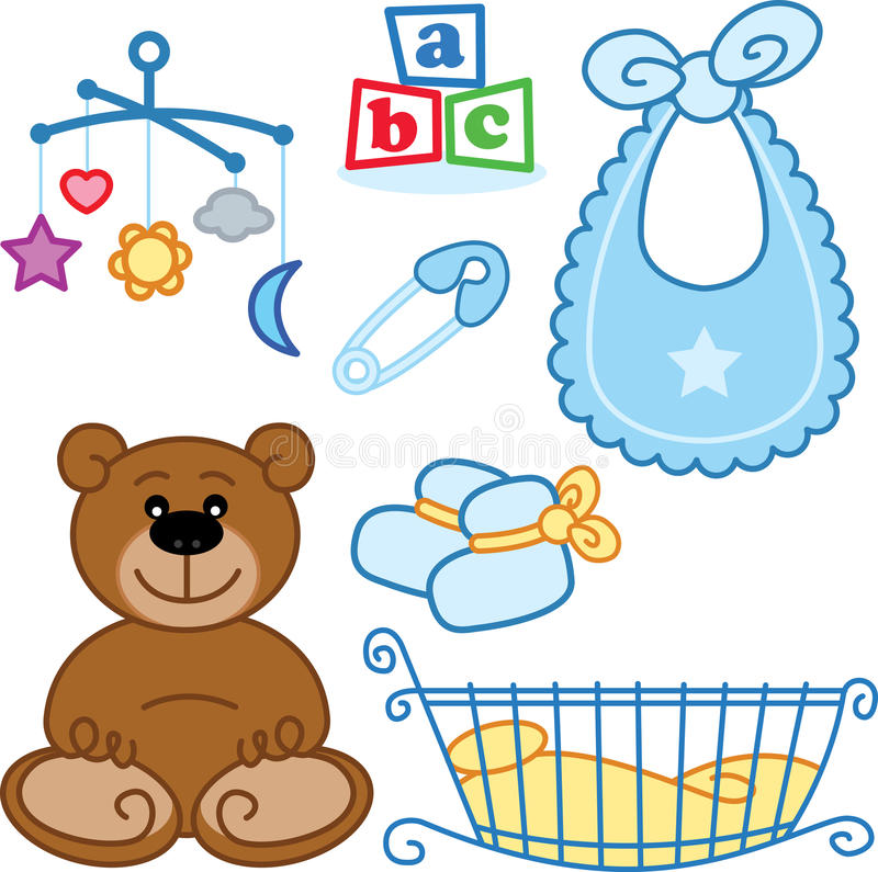 Download Cute New Born Baby Toys Graphic Elements. Stock Vector - Image: 9979593