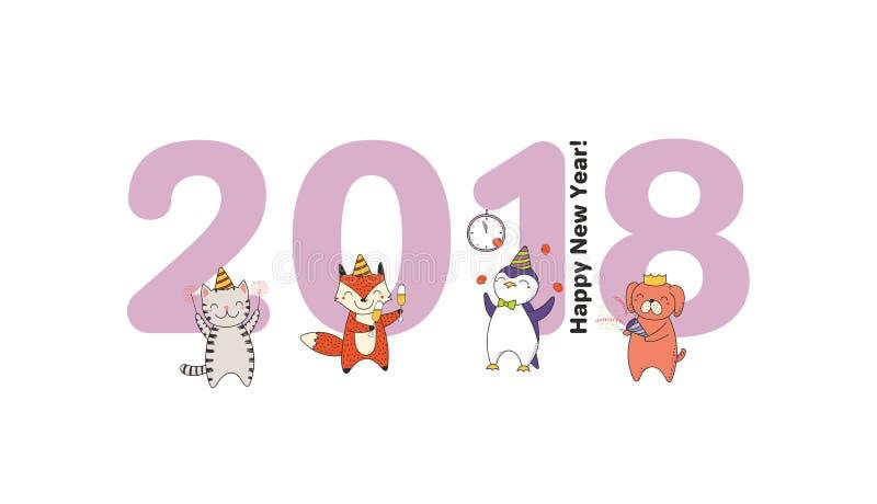 Cute new year card banner stock vector illustration of animals download cute new year card banner stock vector illustration of animals 106019323 m4hsunfo