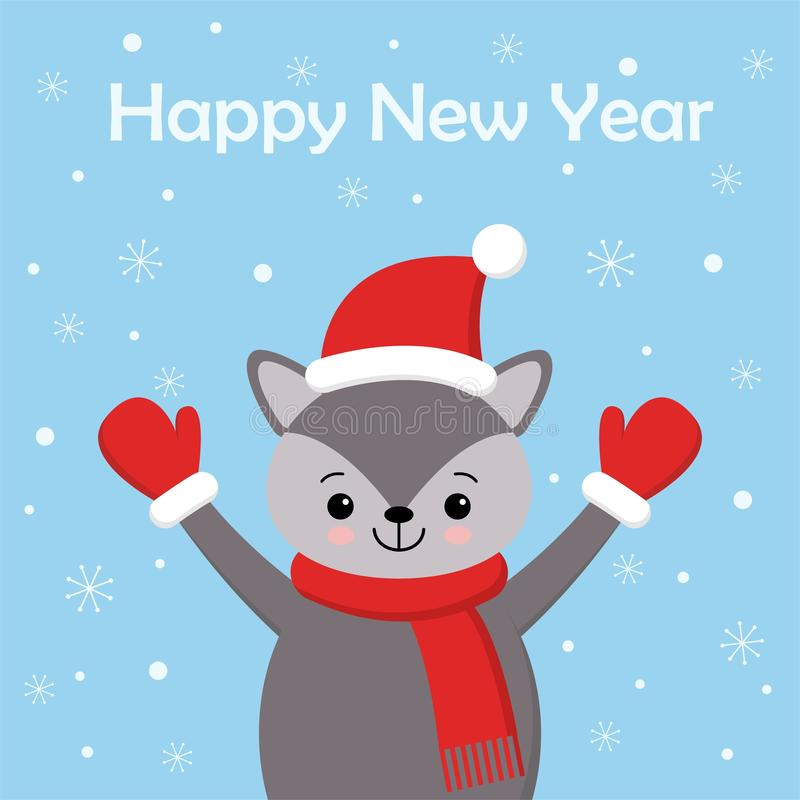 Cute New Year or Christmas greeting card with cute wolf, Santa hat, scarf and snow on blue background. Cartoon character royalty free illustration