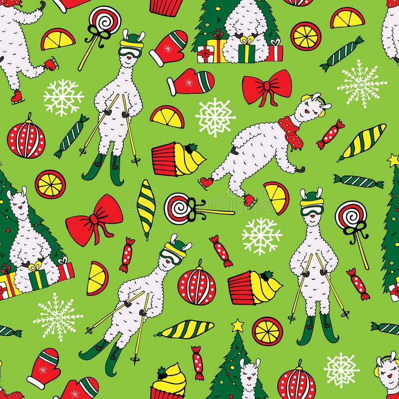 Cute New Year seamless pattern with Lamas vector illustration