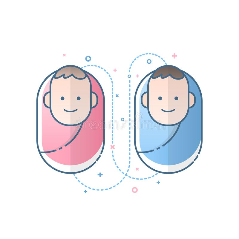 Cute newborn baby boy and girl icon. Vector illustration. Cute newborn baby boy and girl icon. Vector illustration design royalty free illustration
