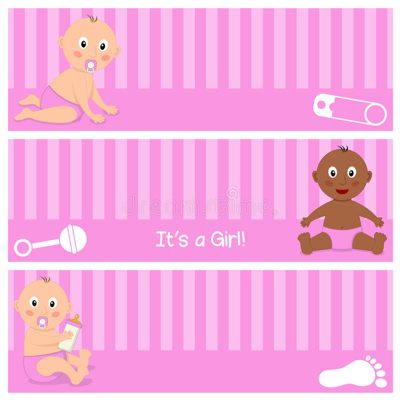 Cute Newborn It's a Girl Banners Set royalty free illustration