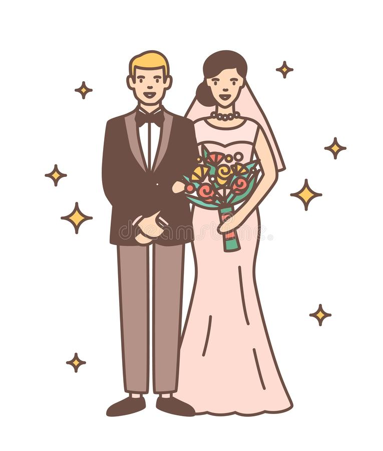 Cute newlywed couple isolated on white background. Portrait of happy smiling bride and groom standing together. Romantic. Wedding celebration. Colorful vector stock illustration