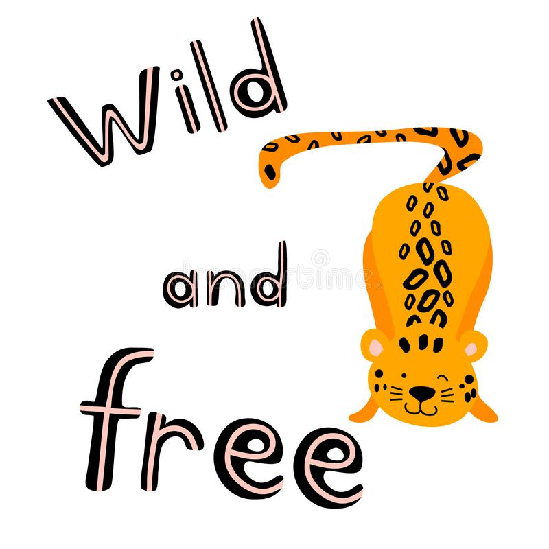 Cute and nice playing leopard. Cartoon animal with lettering isolated on white background. Flat vector illustration vector illustration