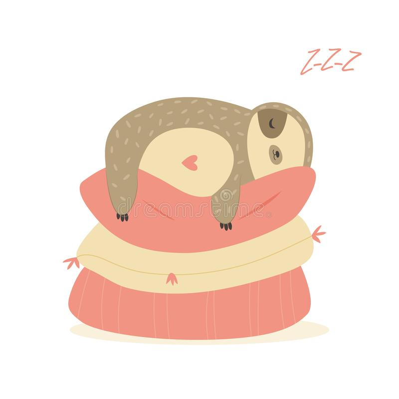 Pillow With A Sweet Sloth Stock Illustration Illustration