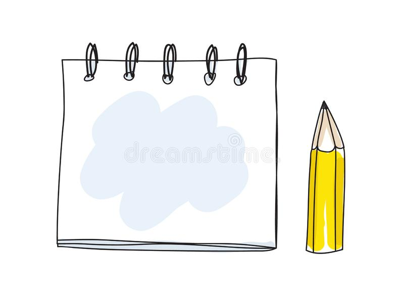 Cute note book and pencil handdrawn art vector illustration royalty free illustration