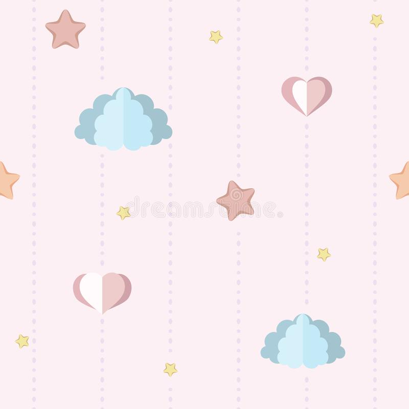 Cute nursery, children`s bedroom wallpaper with paper clouds, stars and hearts. Seamless pink pattern with dotted stripes. vector illustration