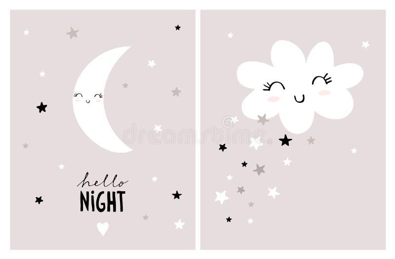Cute Nursery Vector Art Set. Abstract Sky With Stars, Moon and Cloud. stock illustration