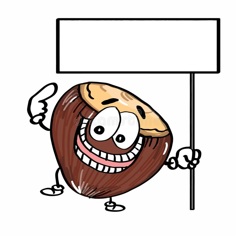 Cute Nut icon illustration and banner and hands drawing. Cute Nut icon illustration and banner and hands and white background royalty free illustration