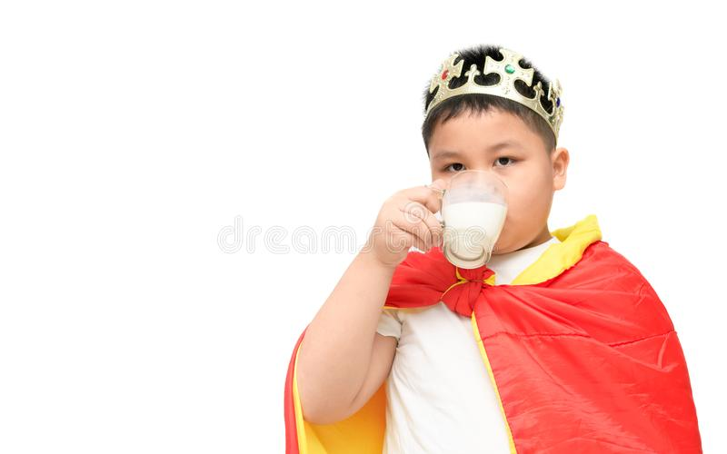 Cute obese boy drinking milk isolated royalty free stock images