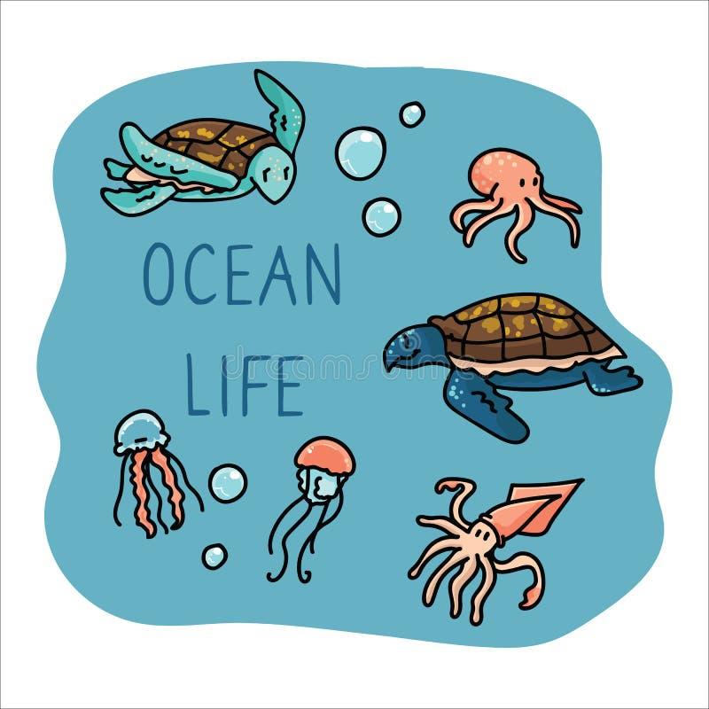 Cute ocean life set cartoon vector illustration motif set. Hand drawn isolated starfish, turtle, jellyfish and cephalopod stock illustration