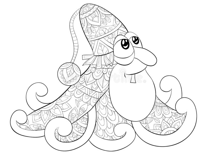 Adult coloring book,page a cute octopus wearing a Christmas cap image for relaxing.Line art style illustration. A cute octopus wearing a Christmas cap with zen stock illustration