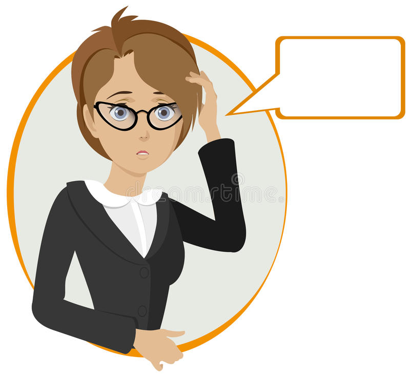 Free Cute Office Lady Thinking. Stock Photography - 15158822