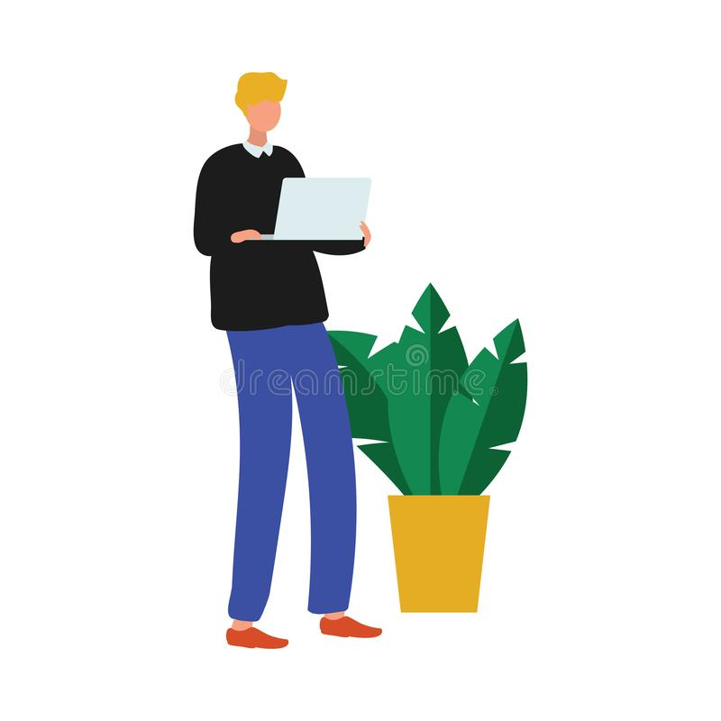 Cute office worker man with modern laptop near houseplant vector illustration
