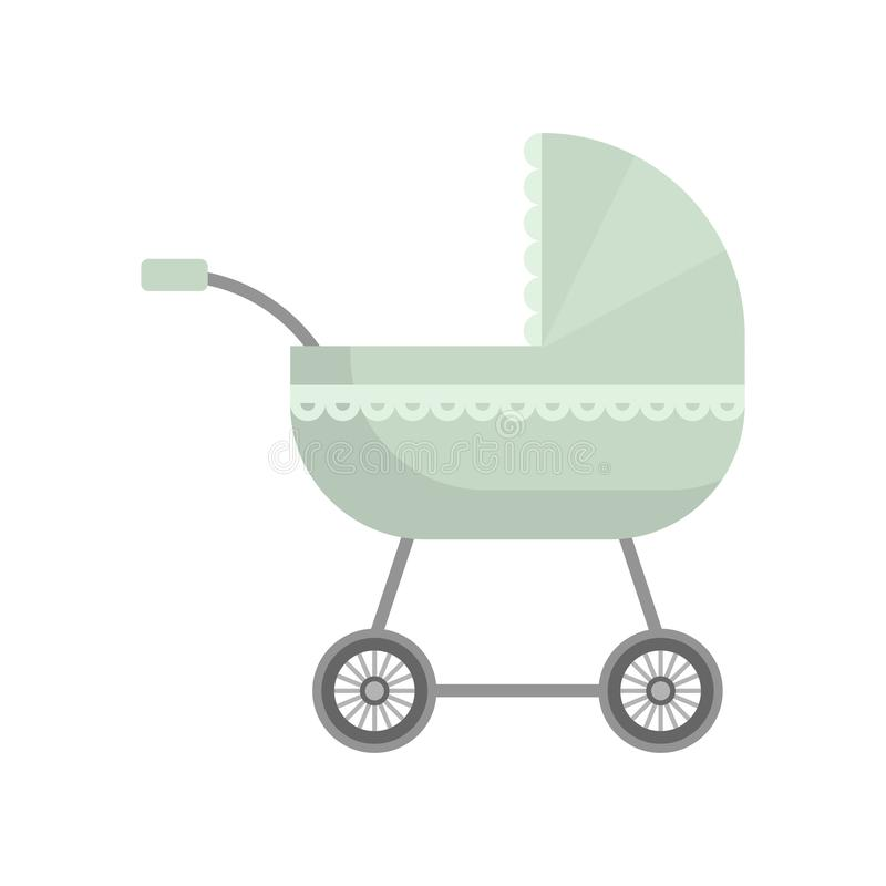Cute olive green color baby stroller with textile ornament stock illustration