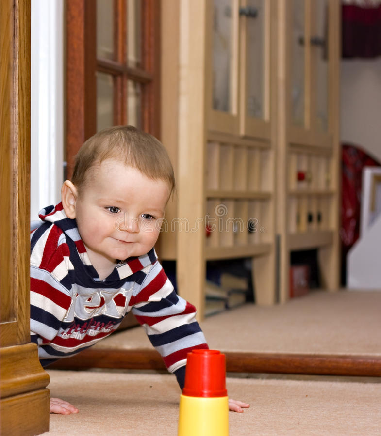 A cute one year old boy royalty free stock image