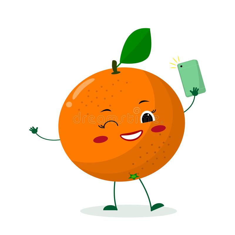 Cute Orange cartoon character with a smartphone and does selfie. stock illustration