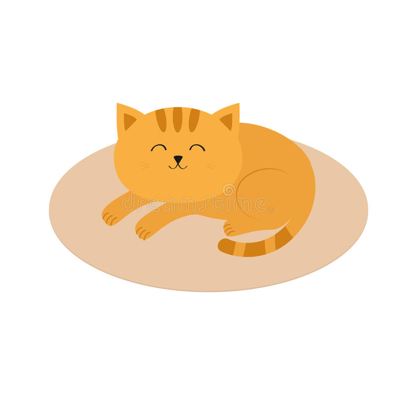 Free Cute Orange Cat Lying Sleeping On Oval Carpet Rug Mat. Moustache Whisker. Funny Cartoon Character. White Background. . Fla Stock Images - 74228034