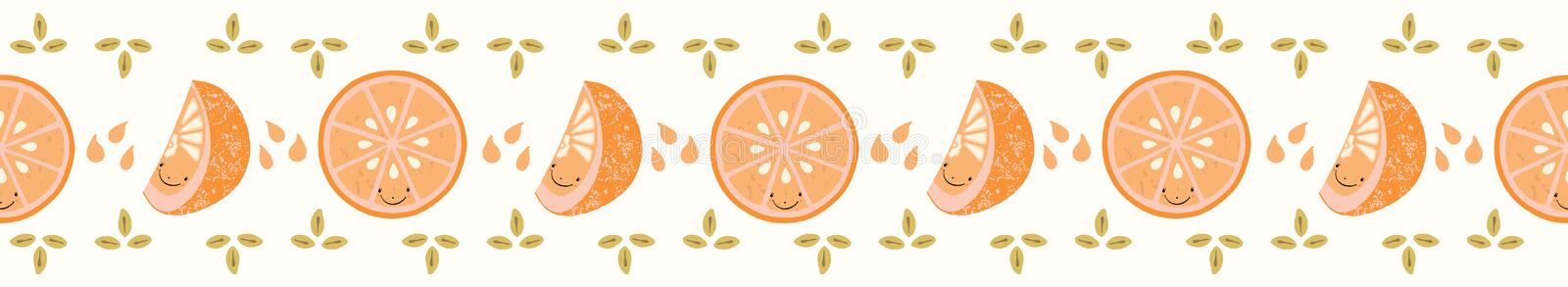 Cute orange citrus fruit cartoon with glass slice and segment. Hand drawn seamless vector border illustration. Smiling face kawaii character for healthy vector illustration