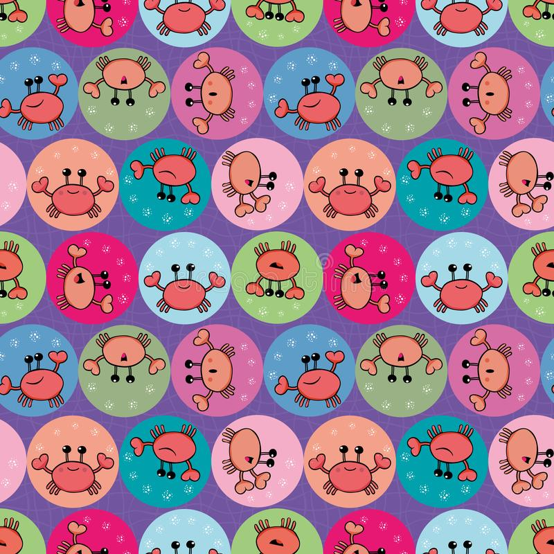 Cute orange crab juggling with bubbles. Seamless geometric multidirectional vector pattern with circles on grid textured vector illustration