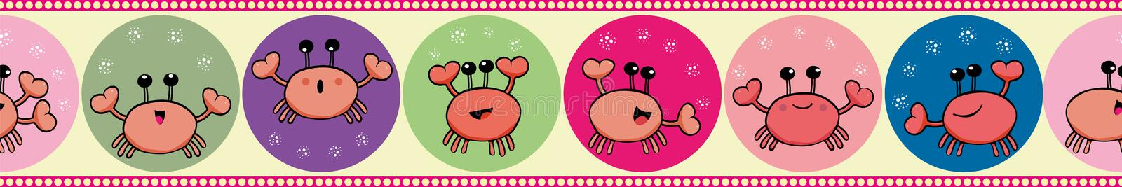 Cute crab juggling with bubbles in border design. Seamless geometric vector pattern on light yellow background with. Cute orange crab juggling with bubbles royalty free illustration