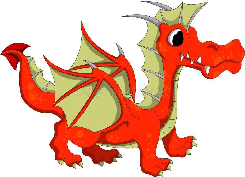 Cute orange dragon cartoon royalty free illustration