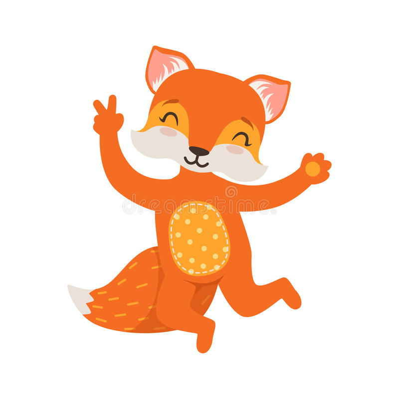 Cute orange fox character dancing, funny cartoon forest animal posing vector Illustration. On a white background royalty free illustration