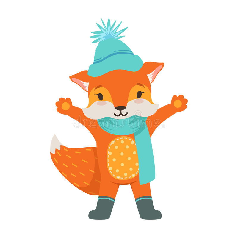 Cute orange fox character wearing in a light blue knitted hat and scarf, funny cartoon forest animal posing with hands stock illustration
