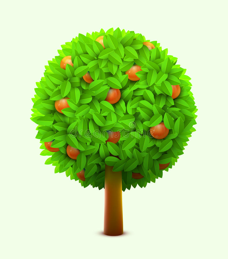 Cute orange or mandarin tree with green leaves and ripe oranges. Realistic citrus tree. Eco harvest concept. Vector illustration stock illustration