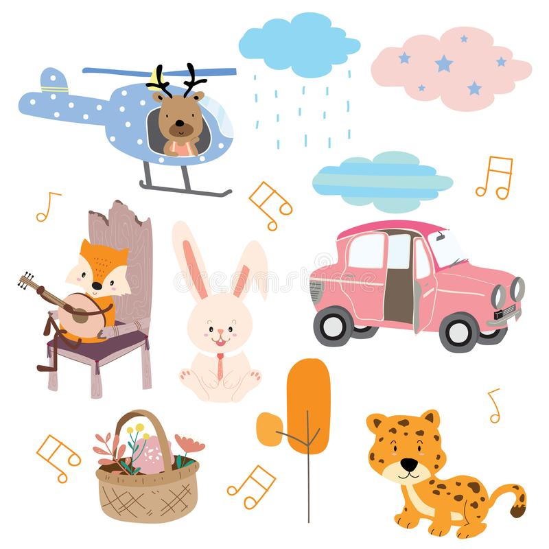 Cute orange pastel icon with fox,chair,car,guitar stock illustration