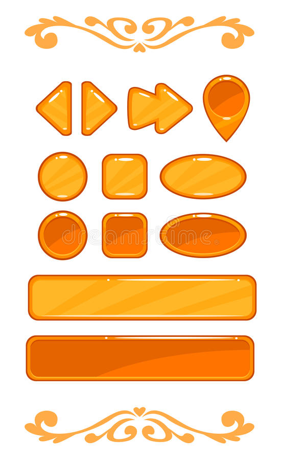 Cute orange vector game user interface. Different shape buttons set stock illustration