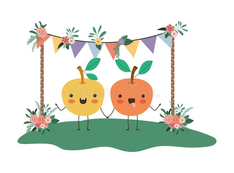 Cute oranges couple in the garden kawaii characters. Vector illustration vector illustration