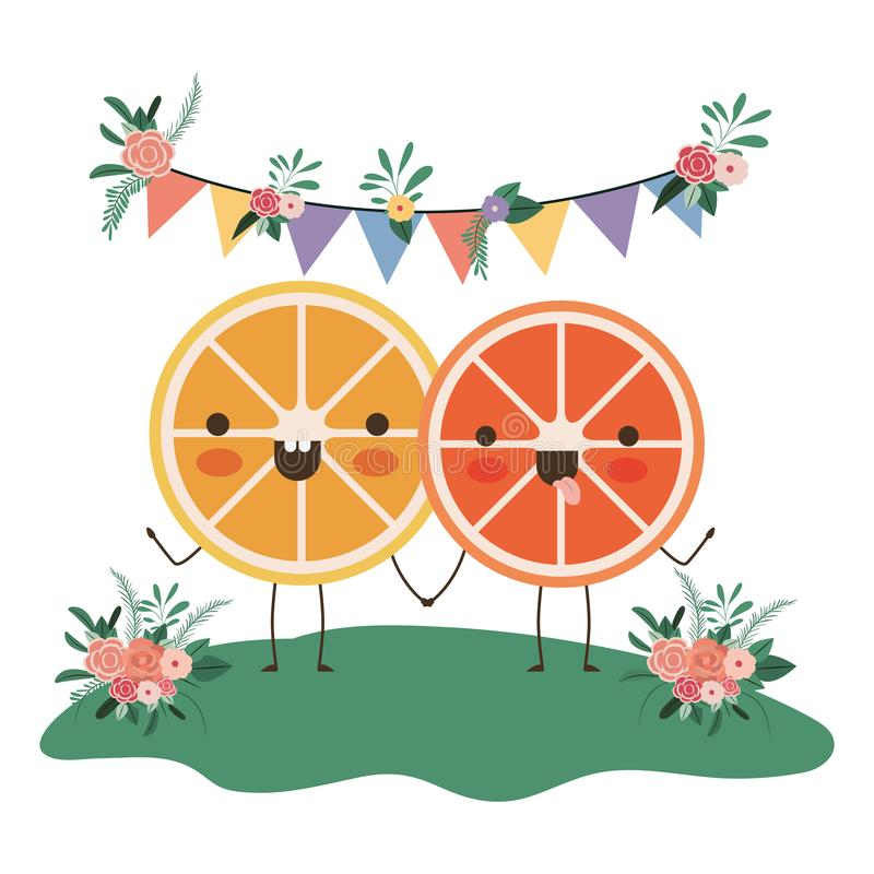 Cute oranges couple in the garden kawaii characters. Vector illustration royalty free illustration