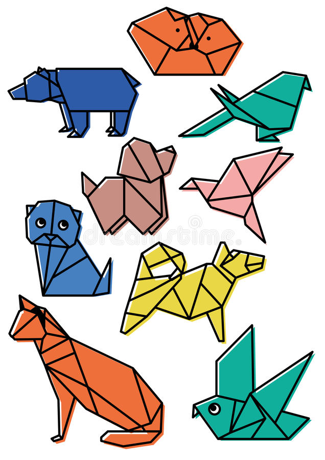 Cute origami animals pets set with dark lines and offset color vector illustration royalty free illustration