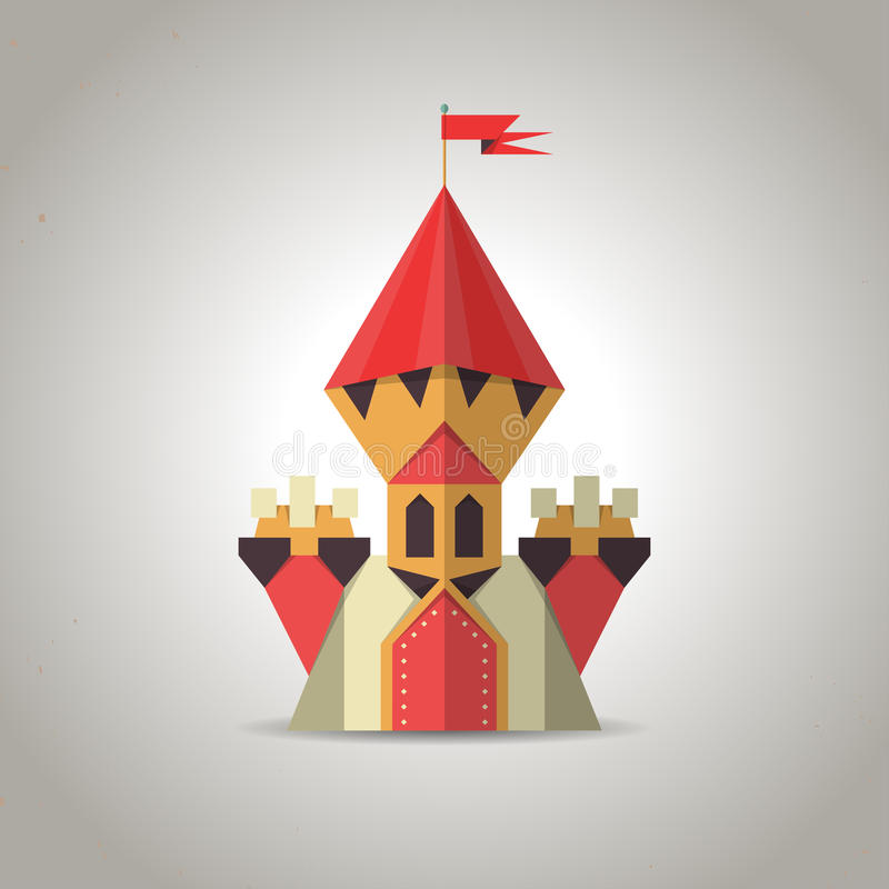 Cute origami castle from folded paper. Icon. royalty free illustration