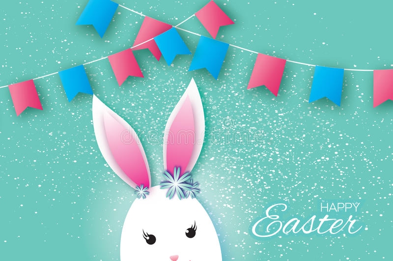Cute Origami Funny Bunny, Flags. Happy Easter Greeting card. Space for text. Cute Origami Funny Bunny - little farm animal. Oval shape. Happy Easter Greeting vector illustration
