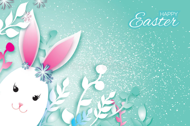 Cute Origami Funny Bunny, Flowers. Happy Easter Greeting card. Space for text. Cute Origami Funny Bunny - little farm animal. Oval shape. Happy Easter Greeting stock illustration