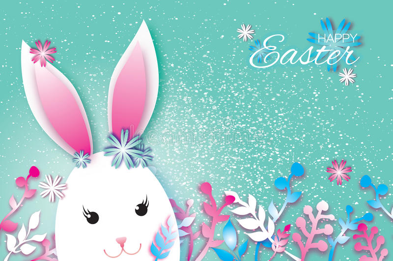 Cute Origami Funny Bunny, Flowers. Happy Easter Greeting card. Space for text. Cute Origami Funny Bunny - little farm animal. Oval shape. Happy Easter Greeting vector illustration