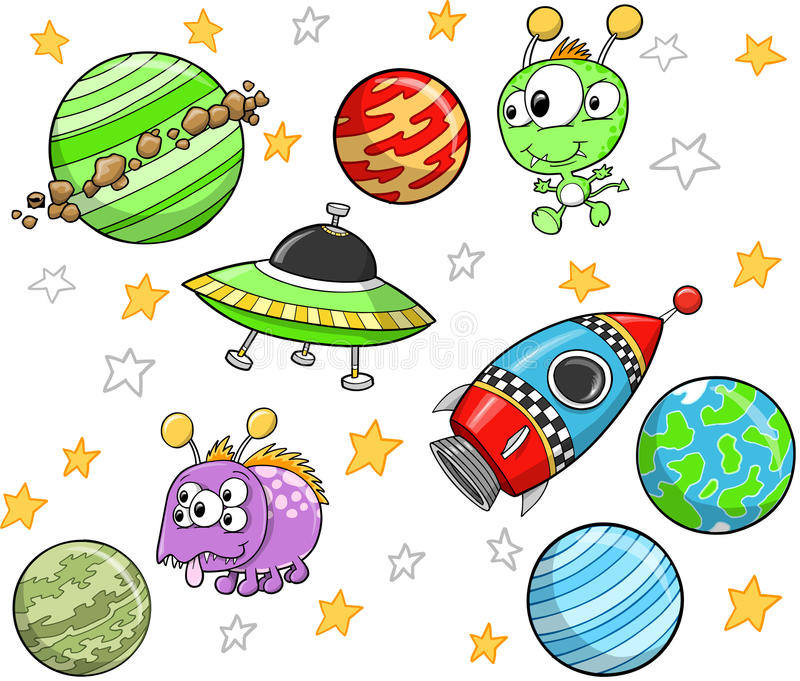 Cute outer Space Set royalty free stock image