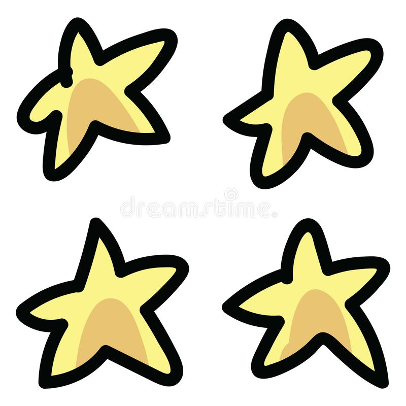 Cute outer space stars cartoon vector illustration motif set. Hand drawn isolated galaxy elements clipart for planetary stock illustration