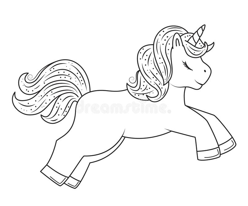 Cute outline doodle unicorn. Hand drawn elements stock illustration