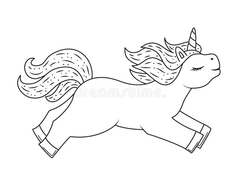 Cute outline doodle unicorn. Hand drawn elements vector illustration